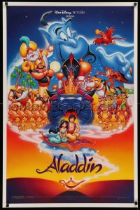 2r034 ALADDIN DS 1sh 1992 Walt Disney Arabian fantasy cartoon, Calvin Patton art of cast!