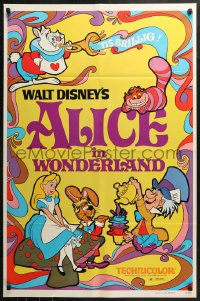 2r035 ALICE IN WONDERLAND 1sh R1981 Walt Disney Lewis Carroll classic, cool psychedelic art