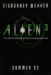 2r037 ALIEN 3 teaser 1sh 1992 Sigourney Weaver, 3 times the danger, 3 times the terror!