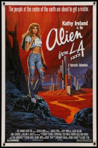 2r038 ALIEN FROM LA 1sh 1988 artwork of Kathy Ireland in sexy white shirt by Larry Salk!