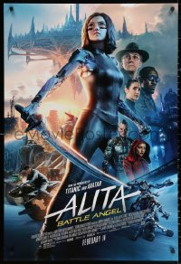 2r045 ALITA: BATTLE ANGEL style D advance DS 1sh 2019 image of the CGI character with sword & cast!