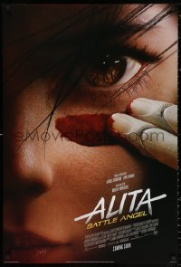 2r041 ALITA: BATTLE ANGEL int'l advance DS 1sh 2019 c/u of the CGI character putting on war paint!