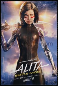 2r043 ALITA: BATTLE ANGEL style B teaser DS 1sh 2019 cool image of the CGI character with sword!