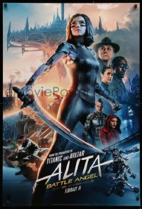 2r044 ALITA: BATTLE ANGEL style C teaser DS 1sh 2019 image of the CGI character with sword & cast!