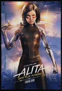 2r042 ALITA: BATTLE ANGEL style B int'l teaser DS 1sh 2019 image of the CGI character with sword & cast!