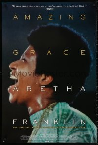2r049 AMAZING GRACE DS 1sh 2018 great close-up profile image of Aretha Franklin singing!