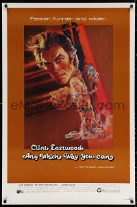 2r058 ANY WHICH WAY YOU CAN 1sh 1980 cool artwork of Clint Eastwood & Clyde by Bob Peak!