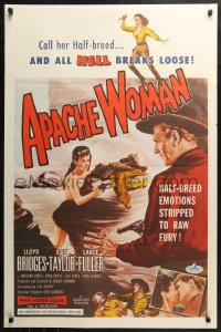 2r059 APACHE WOMAN 1sh 1955 art of naked cowgirl in water pointing gun at Lloyd Bridges!