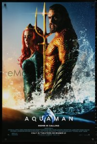 2r063 AQUAMAN advance DS 1sh 2018 DC, Momoa in title role with sexy Amber Heard, home is calling!