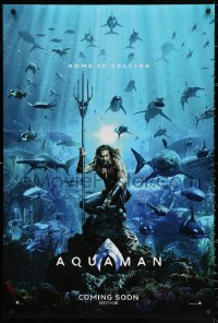 2r064 AQUAMAN int'l teaser DS 1sh 2018 DC, Jason Momoa in title role with great white sharks and more!