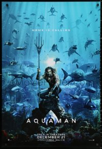 2r065 AQUAMAN teaser DS 1sh 2018 DC, Jason Momoa in title role with great white sharks and more!