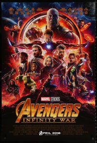 2r083 AVENGERS: INFINITY WAR advance DS 1sh 2018 Robert Downey Jr., montage of top cast in circle!