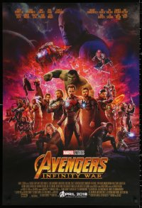 2r082 AVENGERS: INFINITY WAR advance DS 1sh 2018 Robert Downey Jr., montage of top cast & explosion!