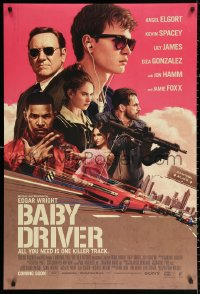 2r090 BABY DRIVER int'l advance DS 1sh 2017 Ansel Elgort in title role, Foxx, artwork by Rory Kurtz!