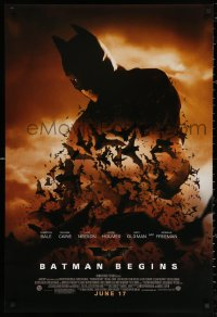 2r097 BATMAN BEGINS advance DS 1sh 2005 June 17, image of Christian Bale's head and cowl over bats!