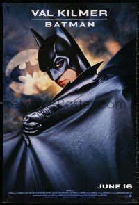 2r099 BATMAN FOREVER advance DS 1sh 1995 cool image of Val Kilmer in the title role, bat symbol!