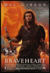 2r153 BRAVEHEART advance DS 1sh 1995 cool image of Mel Gibson as William Wallace!
