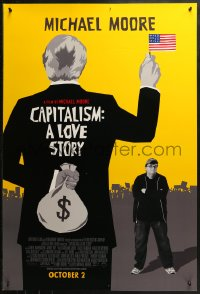 2r164 CAPITALISM: A LOVE STORY advance 1sh 2009 cool artwork & image of Michael Moore!