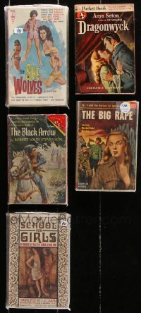 2s011 LOT OF 5 PAPERBACK BOOKS 1940s-1960s She Wolves, Dragonwyck, Black Arrow, School For Girls!