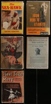 2s013 LOT OF 5 HARDCOVER BOOKS OF NOVELS THAT BECAME MOVIES 1920s-1950s Sea Hawk, Treasure Island!
