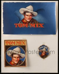 2s030 LOT OF 3 MISCELLANEOUS TOM MIX ITEMS 1930s cool full-color labels with his image!