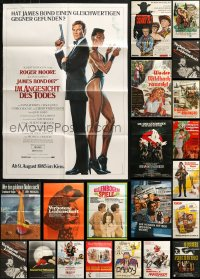 2s035 LOT OF 28 FOLDED GERMAN A1 POSTERS 1950s-1980s great images from a variety of movies!