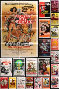 2s045 LOT OF 63 FOLDED KUNG FU ONE-SHEETS 1970s-1980s great images from martial arts movies!