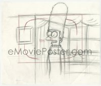 2t002 SIMPSONS animation art 2000s cartoon pencil drawing of Marge talking by window!