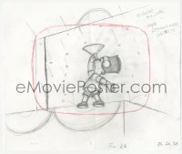 2t003 SIMPSONS animation art 2000s cartoon pencil drawing of masked Bart eating stuff w/funnel!