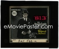 2t210 813 glass slide 1920 Wedgewood Nowell as the master thief Arsene Lupin, ultra rare!