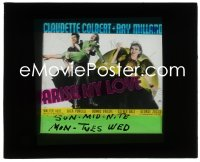 2t222 ARISE MY LOVE glass slide 1940 Claudette Colbert close up & being carried by Ray Milland!