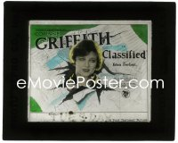 2t245 CLASSIFIED glass slide 1925 Corinne Griffith tearing through newspaper, Edna Ferber, rare!