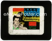 2t250 CONSOLATION MARRIAGE glass slide 1931 art of Irene Dunne & child by man's silhouette!