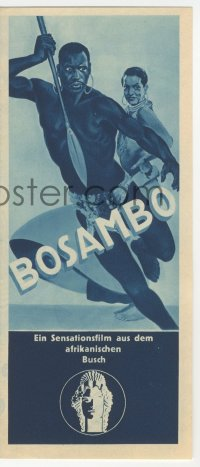 2t039 SANDERS OF THE RIVER German herald 1935 art of Paul Robeson as Bosambo, different & rare!