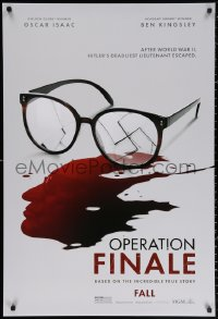 2y0847 OPERATION FINALE teaser DS 1sh 2018 Isaac, WWII, swastika in broken glasses and blood!