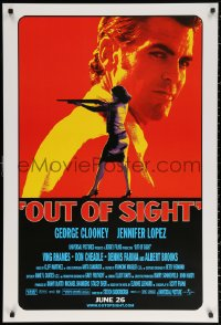 2y0848 OUT OF SIGHT advance DS 1sh 1998 Soderbergh, cool image of George Clooney, Jennifer Lopez!