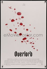 2y0849 OVERLORD advance DS 1sh 2018 from producer J.J. Abrams, WWII paratroopers as blood droplets!