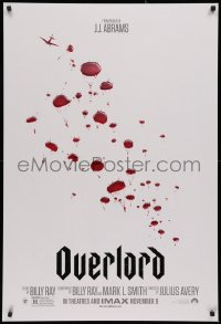 2y0851 OVERLORD teaser DS 1sh 2018 from producer J.J. Abrams, WWII paratroopers as blood droplets!