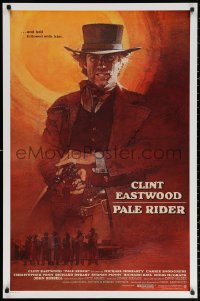 2y0852 PALE RIDER int'l 1sh 1985 great artwork of cowboy Clint Eastwood by C. Michael Dudash!