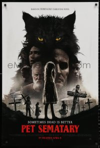 2y0855 PET SEMATARY teaser DS 1sh 2019 Stephen King horror remake, sometimes dead is better, cast!