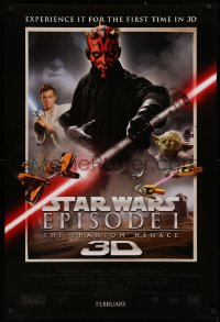 2y0860 PHANTOM MENACE int'l advance DS 1sh R2012 Star Wars Episode I in 3-D, top cast!