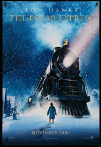 2y0864 POLAR EXPRESS teaser DS 1sh 2004 Tom Hanks, Robert Zemeckis, art of train by D. Chiang