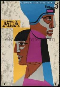 2y0303 AIDA commercial Polish 27x38 1960s Polish stage play, cool Jozef Mroszczak art!