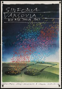 2y0311 WARSAW SYMPHONY Polish 26x38 1987 really cool rare Saul Bass musical artwork!