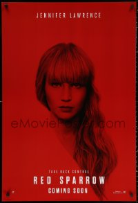2y0879 RED SPARROW int'l teaser DS 1sh 2018 portrait of Jennifer Lawrence over red background!