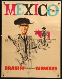 2y0249 BRANIFF INTERNATIONAL AIRWAYS MEXICO 20x26 travel poster 1960s Hinate art of matadors & bull!