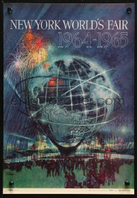 2y0250 NEW YORK WORLD'S FAIR 11x16 travel poster 1961 art of the Unisphere & fireworks by Bob Peak!