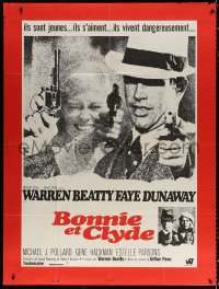 2z0801 BONNIE & CLYDE French 1p 1968 different close up of Warren Beatty & Faye Dunaway with guns!