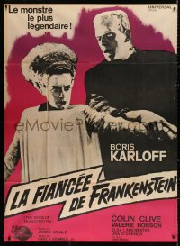2z0803 BRIDE OF FRANKENSTEIN French 1p R1964 Boris Karloff as the monster with Elsa Lanchester!