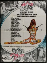 2z0814 CASINO ROYALE French 1p 1967 Bond spy spoof, sexy psychedelic Kerfyser art + photo montage!